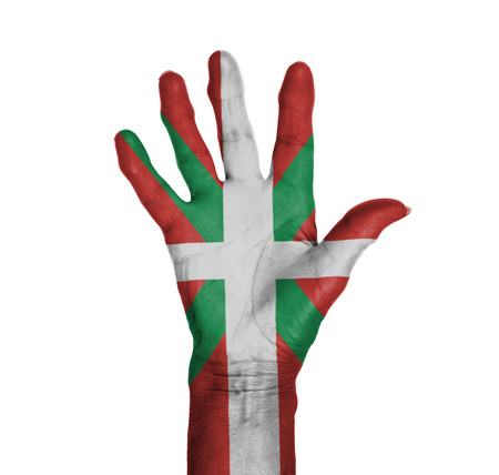 basque woman: Palm of a woman hand, painted with flag of Basque Country