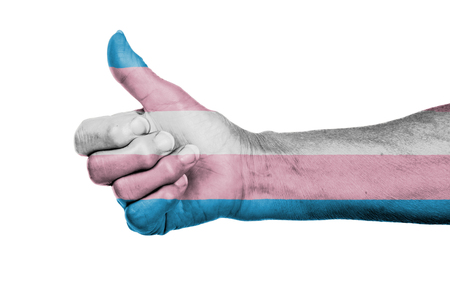 trans gender: Old woman with arthritis giving the thumbs up sign, Trans Pride