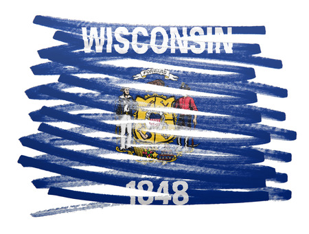 wisconsin flag: Flag illustration made with pen - Wisconsin