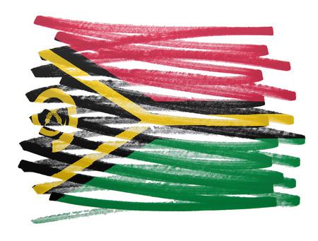 vanuatu: Flag illustration made with pen - Vanuatu