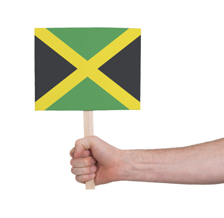 jamaican man: Hand holding small card, isolated on white - Flag of Jamaica