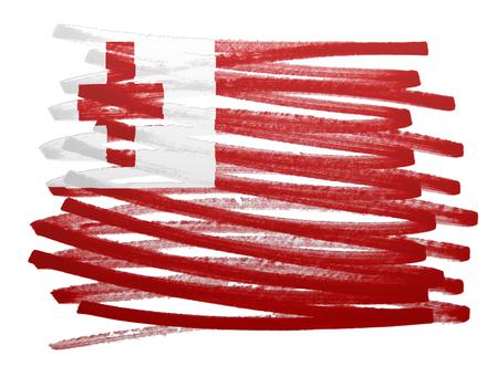 tonga: Flag illustration made with pen - Tonga
