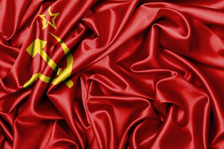 ussr: Large satin flag waving - flag of the USSR