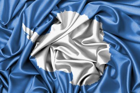 antarctica: Large satin flag waving - flag of Antarctica