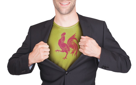 reveal: Businessman opening suit to reveal shirt with flag, Wallonia