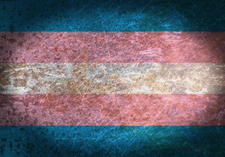 old sign: Old rusty metal sign with a flag - Trans Pride