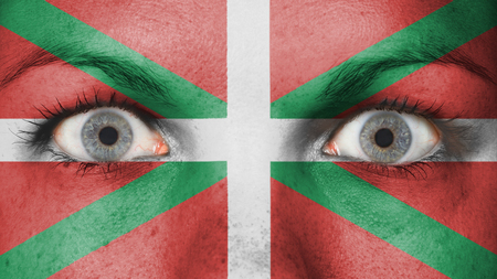 basque woman: Woman eyes, close-up eyes wide open with flag of Basque Country