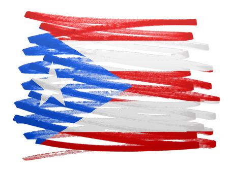 bandera de puerto rico: Ilustración de la bandera hecha con pluma - Puerto Rico