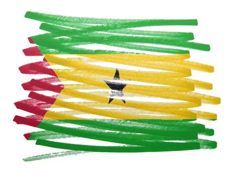 principe: Bandera ilustraci�n hecha con la pluma - Santo Tom� y Pr�ncipe Foto de archivo