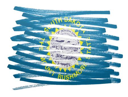 dakota: Flag illustration made with pen - South Dakota