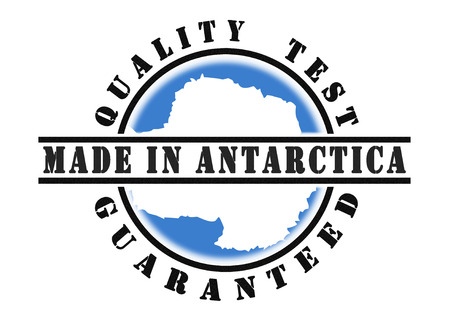 qualify: Quality test guaranteed stamp with a national flag inside, Antarctica Stock Photo
