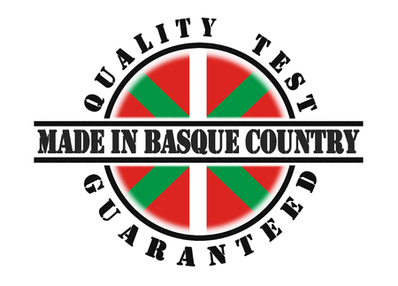 qualify: Quality test guaranteed stamp with a national flag inside, Basque Country