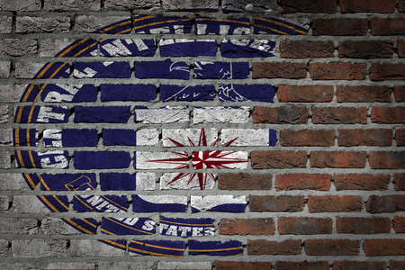 CIA: Dark brick wall texture - flag painted on wall - CIA