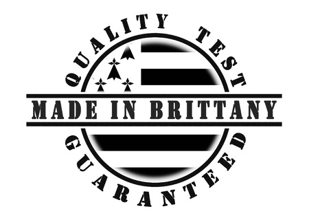 qualify: Quality test guaranteed stamp with a national flag inside, Brittany