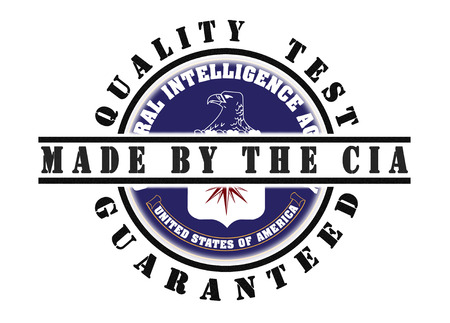 CIA: Quality test guaranteed stamp with a national flag inside, CIA Stock Photo
