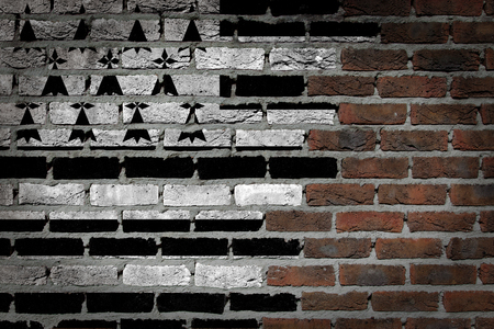 finishing: Dark brick wall texture - flag painted on wall - Brittany