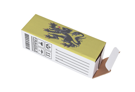 trading board: Concept of export, opened paper box - Product of Flanders Stock Photo