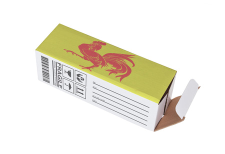 trading board: Concept of export, opened paper box - Product of Wallonia