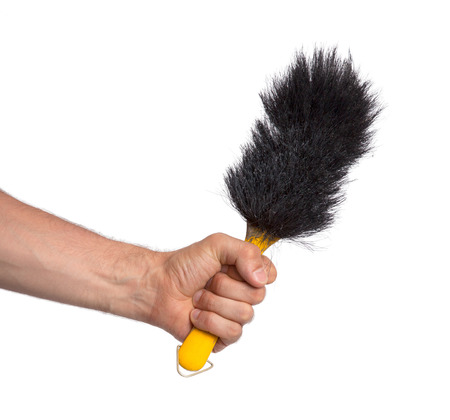 things that go together: Hand brush isolated on a white background Stock Photo