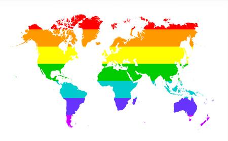 rainbow flag: Map of world isolated on white, Rainbow flag Stock Photo