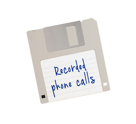 recorded: Floppy Disk - Tachnology from the past, isolated on white - Recorded phone calls