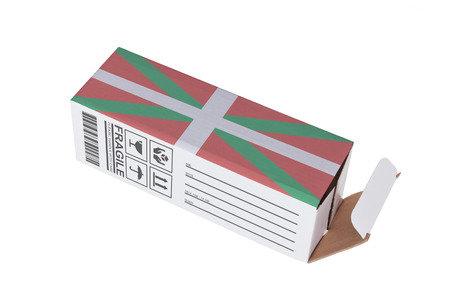 the basque country: Concept of export, opened paper box - Product of Basque Country