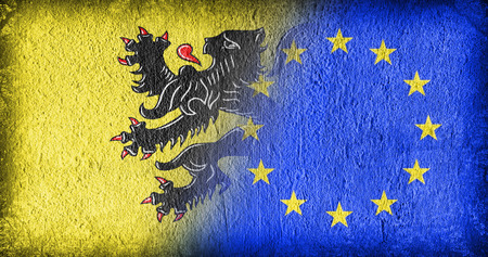 flanders: Flanders and the EU, flags painted on cracked concrete Stock Photo