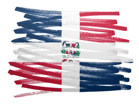 dominican republic: Flag illustration made with pen - Dominican Republic