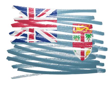 fiji: Flag illustration made with pen - Fiji Stock Photo