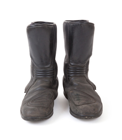 old motorcycle: Old motorcycle boots, isolated on a white background Archivio Fotografico