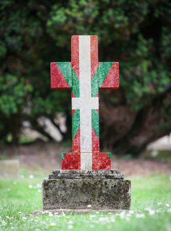 the basque country: Very old gravestone in the cemetery, Basque Country Stock Photo