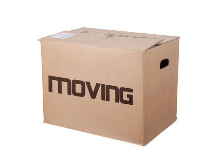 moving box: Closed cardboard box, isolated on a white background, moving