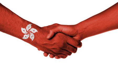 hong: Man and woman shaking hands, wrapped in flag pattern, Hong Kong