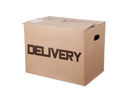 délivrance: boîte en carton fermé, isolé sur un fond blanc, la livraison