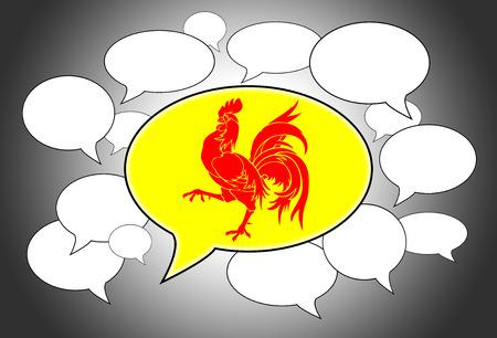 spoken: Speech bubbles concept - spoken language is that of Wallonia Stock Photo