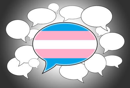 spoken: Speech bubbles concept - spoken language is that of Trans Pride