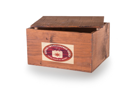 CIA: Wooden crate isolated on a white background, product of the CIA Stock Photo