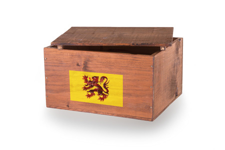 flanders: Wooden crate isolated on a white background, product of Flanders