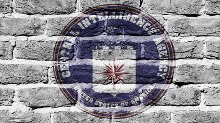 CIA: Very old dark red brick wall texture, flag of the CIA