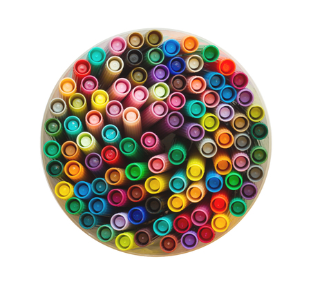 felt tip: Collection of various felt tip pens, old and used Stock Photo