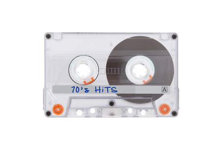 70s: Vintage audio cassette tape, isolated on white background, best of the 70s