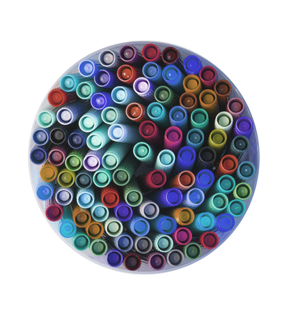 hued: Collection of various felt tip pens, old and used Stock Photo