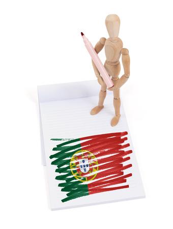 bandera de portugal: Maniquí de madera que hizo un dibujo de una bandera - Portugal
