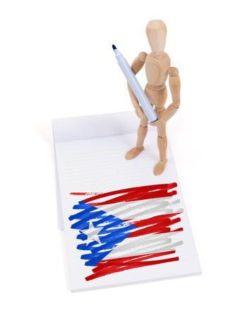 bandera de puerto rico: Maniquí de madera que hizo un dibujo de una bandera - Puerto Rico