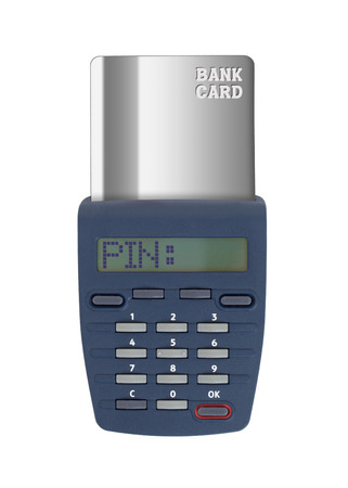Security device for banking at home, isolated on white,pin