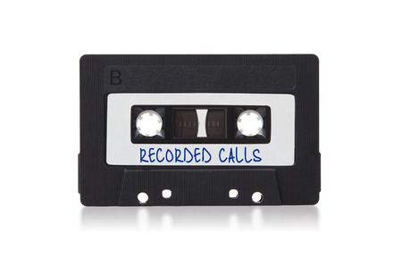 recorded: Vintage audio cassette tape, isolated on white background, recorded calls
