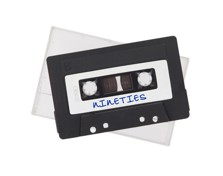 90s: Vintage audio cassette tape, isolated on white background, best of the 90s