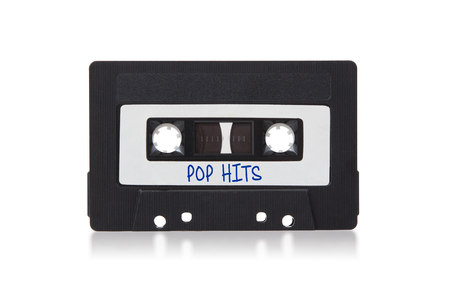audio cassette: Vintage audio cassette tape, isolated on white background, Pop hits