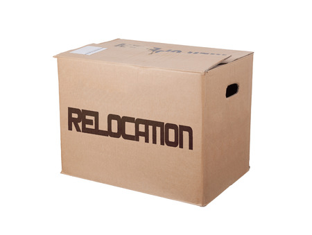 relocation: Closed cardboard box, isolated on a white background, relocation