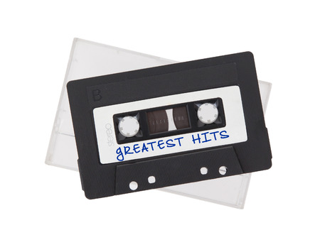 greatest: Vintage audio cassette tape, isolated on white background, Greatest hits